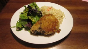Italian Herb Crusted Pork Chop served with couscous and a green salad | Square Peg Food Farm